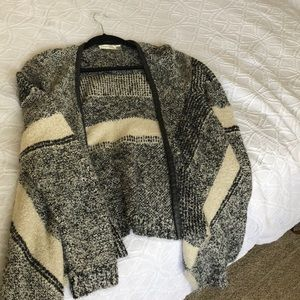 Asymmetrical open Cardigan with Leather Trim